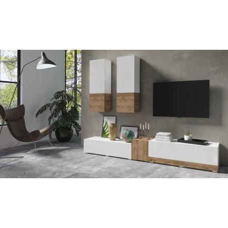 Power Wall Set in White High Gloss and Sandal Oak Imitation