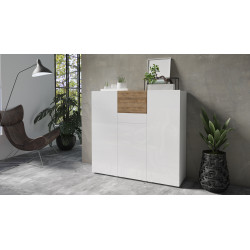 Power Highboard in White High Gloss and Sandal Oak Imitation