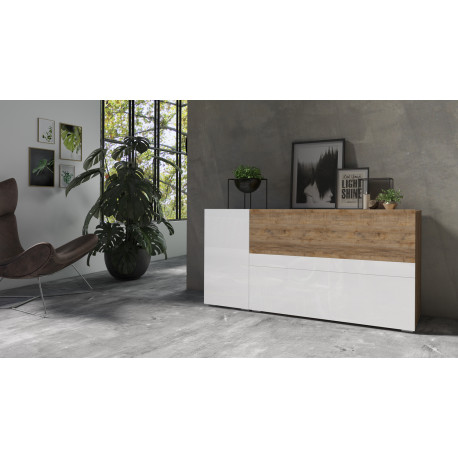 Power Sideboard in White Gloss and Sandal Oak Imitation