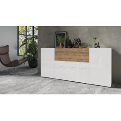 Power Large Sideboard in White High Gloss and Sandal Oak Imitation