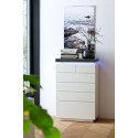 Atena drawer chest in matt lacquered with LED lights and stone imitation top