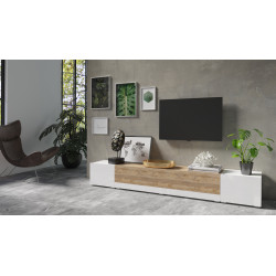 Power Large TV Stand in White High Gloss and Sandal Oak Imitation