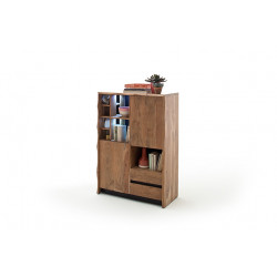 Calabria acacia wood assembled highboard with LED lights