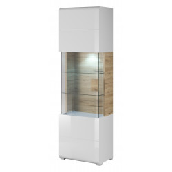 Toledo Display Cabinet in White High Gloss and San Remo Wood Imitation