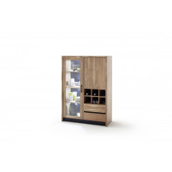 Calabria II acacia wood assembled highboard with LED lights