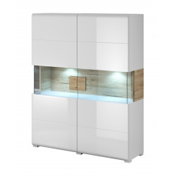 Toledo Highboard in White High Gloss and San Remo Wood Imitation