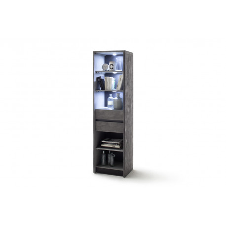 Calabria grey acacia wood assembled display cabinet with LED lights