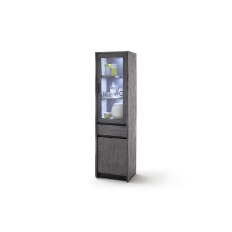 Calabria II grey acacia wood assembled display cabinet with LED lights