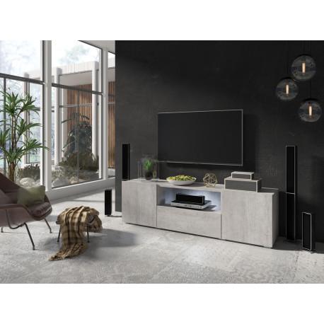 Delos small TV stand in Concrete finish