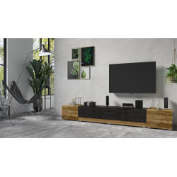 Power TV Stand in Satin Walnut and Black Wood Imitation