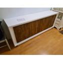 Amber III - white and oak cognac 4 door modern sideboard