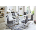 Paulo - colourful dining chair with brushed steel frame