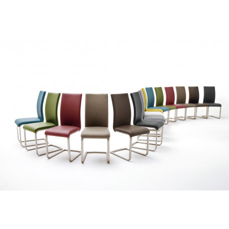 Paulo 1 - colourful dining chair with brushed steel frame