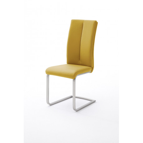 Paulo 2 - colourful dining chair with brushed steel frame
