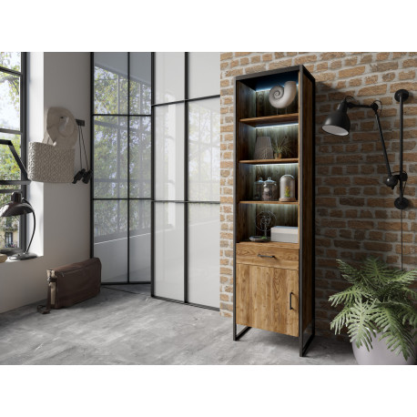 Tarabo Display Cabinet in Grand Canyon Oak Imitation and black top