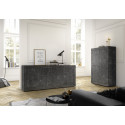 Dolcevita 4 doors white gloss and oak finish sideboard