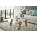 Mexico Rectangular Coffee Table in Glass and Solid Oak Finish