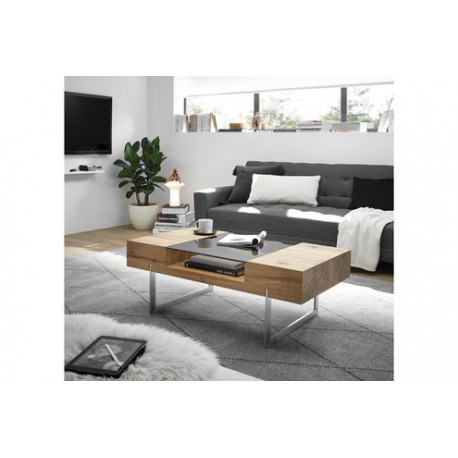 Riva Coffee Table in Oak Imitation with Brushed legs