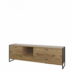 Flora TV stand in Bianco Oak with 2 flaps and 2 drawers