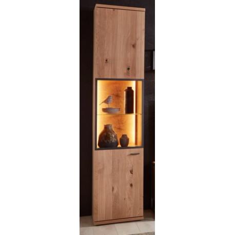 Flora narrow Display Cabinet in Bianco Oak