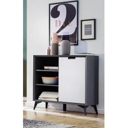 Netanja Highboard 93 cm in Grey and White matt lacquer