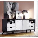 Netanja Sideboard 180 cm in grey and white matt lacquer