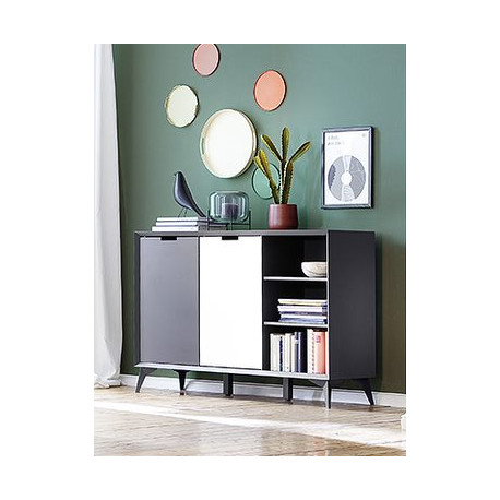 Netanja Sideboard 137 cm in in grey and white matt lacquer