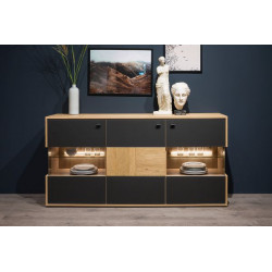 Valencia Sideboard 184 cm in Bianco Oak and Athracite Fronts