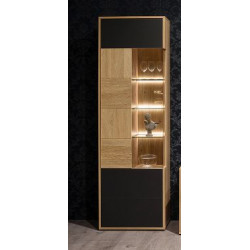 Valencia assembled Display Cabinet Left in Bianco Oak and Athracite Fronts