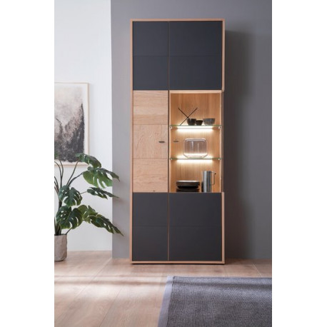 Valencia assembled 2 doors Displaz Cabinet in Bianco Oak and Athracite Fronts