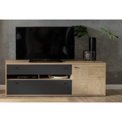 Valencia TV Stand in Bianco Oak an Anthracite Fronts