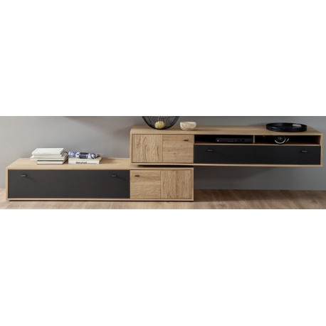 Valencia Large TV stand 306 cm in Bianco Oak an Anthracite Fronts