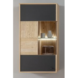 Valencia Hanging Cabinet in Bianco Oak and Athracite Fronts