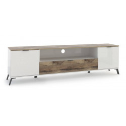Casablanca TV Stand 180 cm in White High Gloss and Maple Veneer Finish