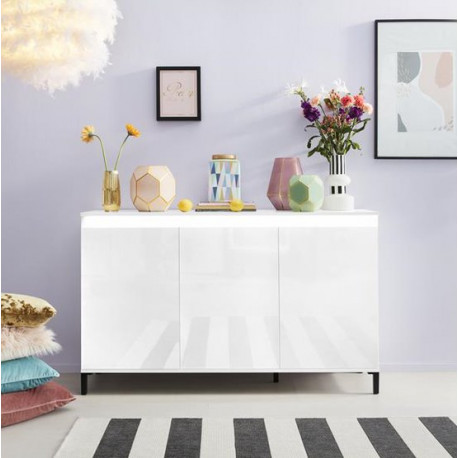 Genua Sideboard 138 cm in White High Gloss and LED Lights