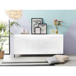 Genua Sideboard 184 cm in White High Gloss and LED Lights
