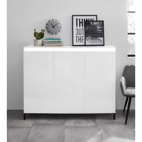 Genua 3 doors Highboard in White High Gloss