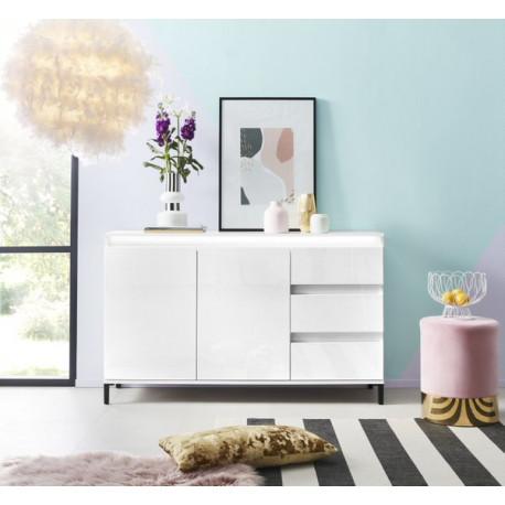 Genua Sideboard 2 doors 3 drawers in White High Gloss