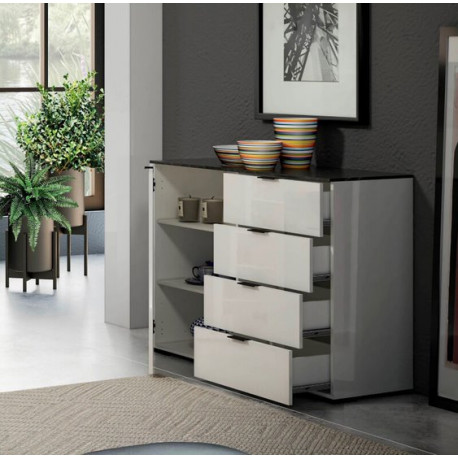 Stone Sideboard 120 cm with 4 drawers in White High Gloss