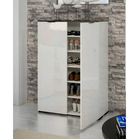 Stone Shoe Cabinet in White High Gloss