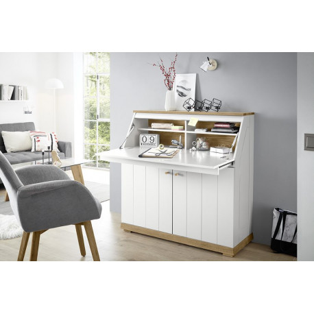 Terni Secretary Writing Desk in White Matt and Oak Veneer