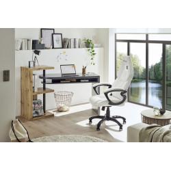 Moura Grey Computer Desk with Oak Veneer