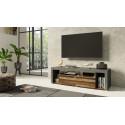 Nela TV Stand 153 cm in Grey and Wood Veneer