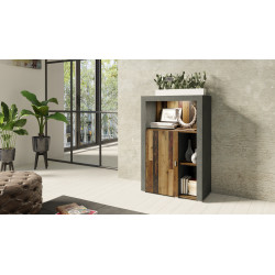 Nela Highboard in Grey and Wood Veneer