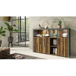 Nela Sideboard 163cm in Grey and Wood Veneer