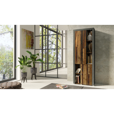 Nela Display Cabinet in Grey and Wood Veneer