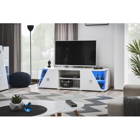 Edgar TV Stand in White high gloss and LED lights
