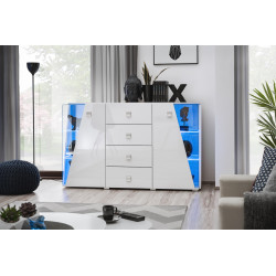 Edgar Sideboard 150 cm in White High Gloss and LED Lights