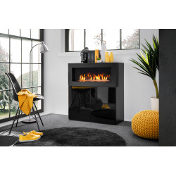 Carmino Sideboard in Black High Gloss with Fireplace