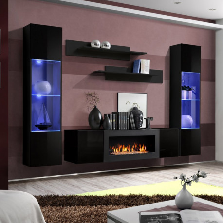 Air Wall Set 260 cm in White High Gloss and Fireplace